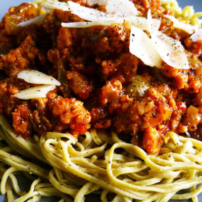 Chicken Spaghetti with Edamame Noodles