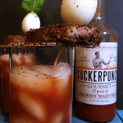 Bloody Mary with Whiskey, topped with steak and eggs