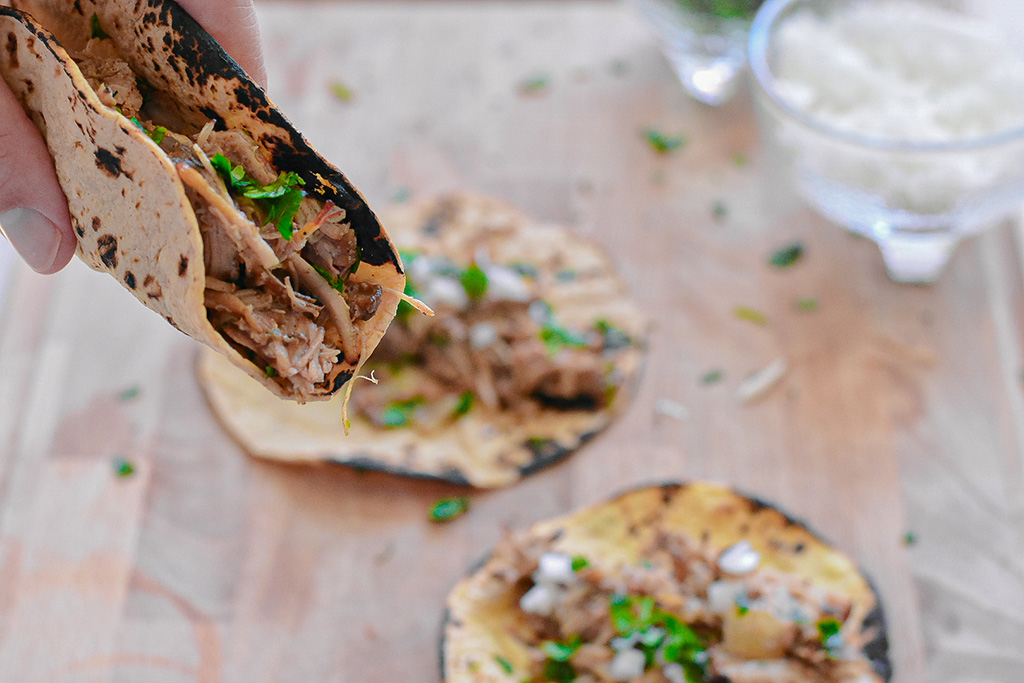 Carnitas Tacos - Mexican slow cooker pulled pork