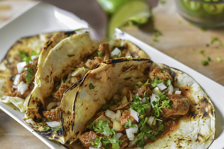 Chicken Tinga tacos with cilantro and onion
