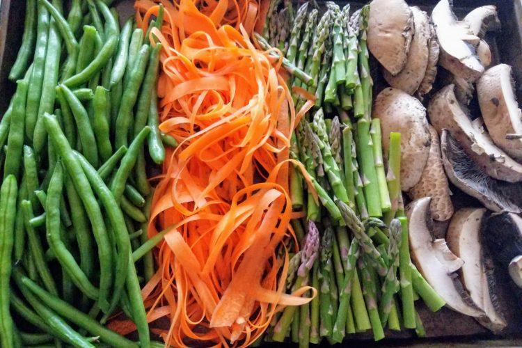 Spring Veggie Pasta with Garlic Tahini Sauce